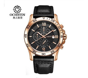 Relógio Ochstin 068a Top De Luxo Pulseira De Couro Na Caixa