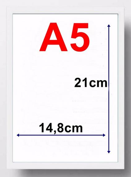 5 Moldura Quadro A5 14,8x21cm Com Vidro Forro Mdf Cor Branco