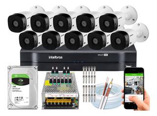 Kit Cftv Intelbras 10 Cameras Vhl 1220 B 1080p Dvr 16 Canais