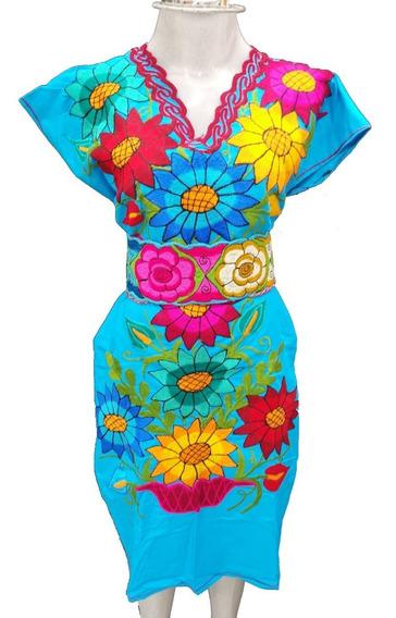 Vestido Fiesta Mexicano Bordado Chiapas 100% Algodon Gala V81