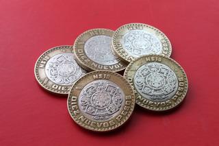 Moneda $ 10 Nuevos Pesos Centro De Plata 92-93-94