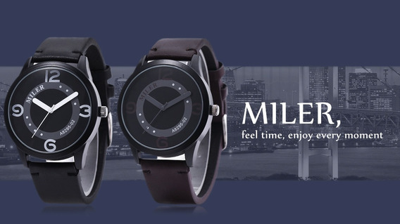 Relógio Bom Barato Bonito Moderno Masculino Pulseira Couro
