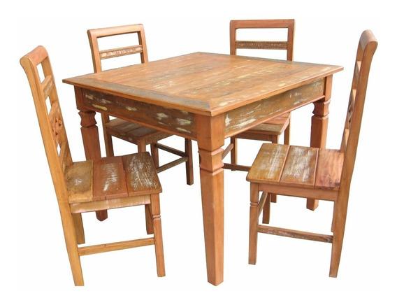 Jogo De Mesa Gaturamo Com 4 Cadeiras - Madeira De Demolição