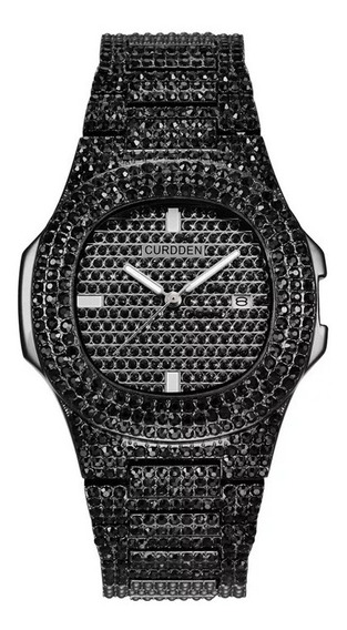 Relógio Relogios Zirconias Black Brilhantes Hip Hop