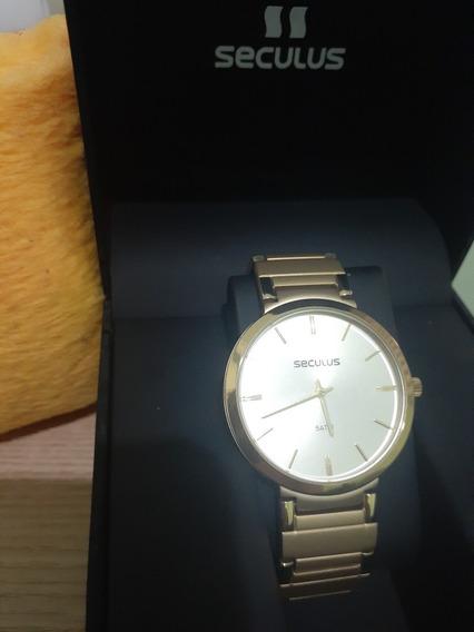 Relógio Seculus Banhado Á Ouro