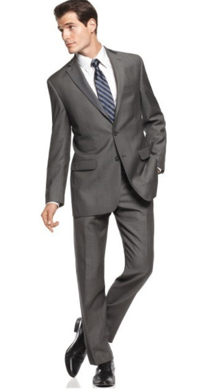 Terno Calvin Klein Cinza Carvão Slim Fit 44 G 100% Lã Blazer