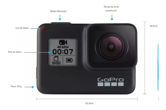 Gopro Câmera Digital De Video Hero7 Black 4k R$ 1.785 À Vist