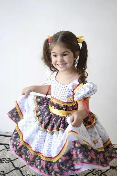 Vestido Festa Junina Infantil Caipira+ Laço De Cabelo.