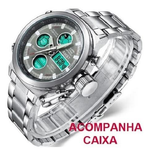 Relógio Masculino Aço Prata Digital Original Barato+caixa