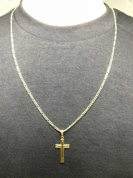 Corrente Banhada A Ouro 18k Cordão Masc/ Fem. 50cm Ping Cruz