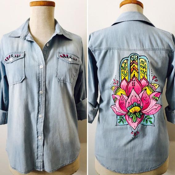 Camisa Blusa Campera Jean Pintada A Mano Diseño