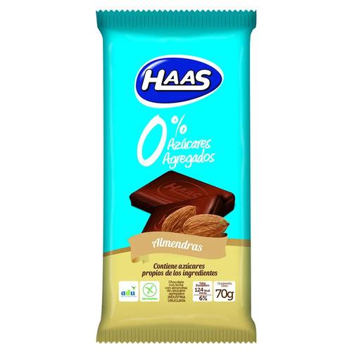 Haas Tableta 0% Azúcar C/almendras 150g.