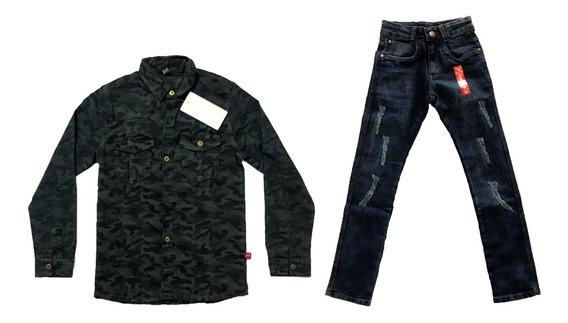 Roupa Infantil E Juv Masc Jaqueta Camuflada + Calça Jeans