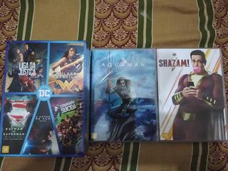Dvd Box Coleção Filmes Dc + Aquaman + Sahzam! 7 Discos