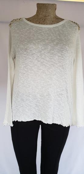 Sweater Natural Tejido Con Detalles En El Hombre T /4 Amplio