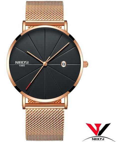 Relógio Masculino Nibosi Slim Ni2321bl Completo