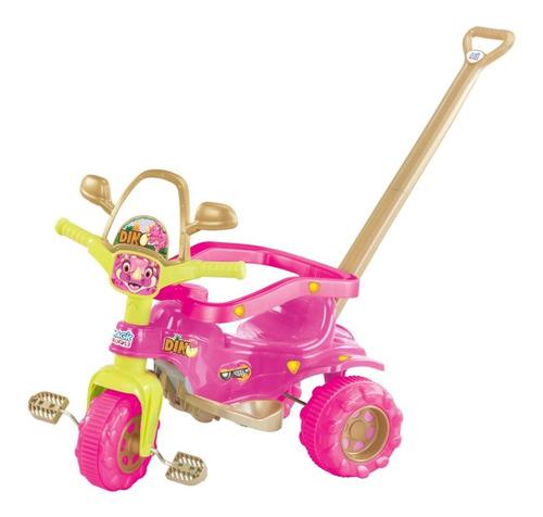 Triciclo Infantil Tico Dino Pink Motoca Adesivo Acessórios