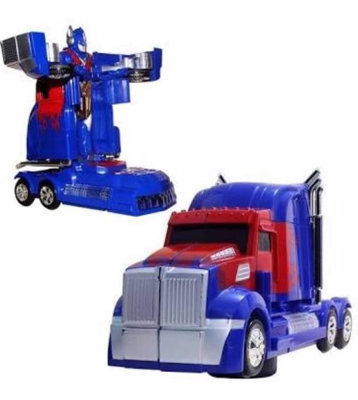 Caminhão Transformes Optimus Prime Robô A Pilha