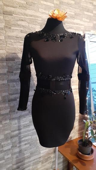 Vestido Corto Negro. Tipo Cóctel Talla S_m Única Pieza
