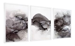 Quadros Decorativos Abstrato Formas Fumaça Tons Escuros Sala