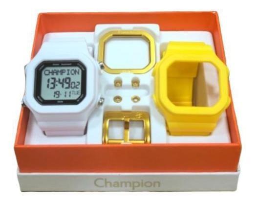 Relógio Champion Yot Cp40180x Branco E Amarelo