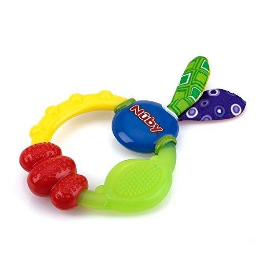 2pcs beb/é infantil anillo de dentici/ón de madera natural con decoraci/ón de tela juguete de mordedor de madera Anillos de dentici/ón #3 Gray