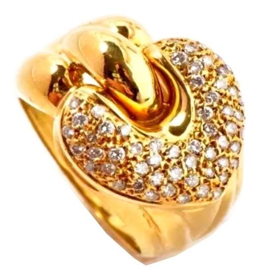 Anel Feminino Ouro 18k Coração Com 57 Brilhantes 1686