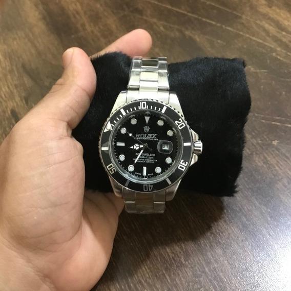Relógio Rolex Prata Com Preto (prata)