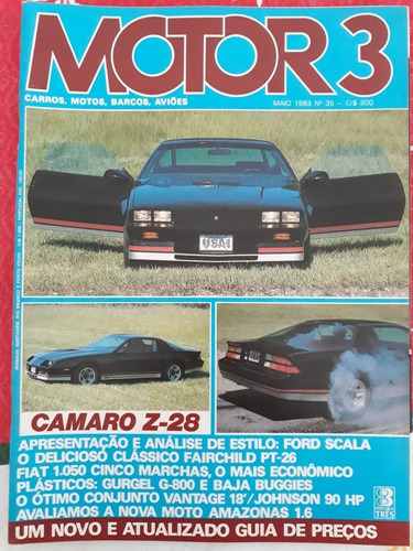 Revista Motor 3 Gurgel G 800 Camaro Z 28 Baja Amazonas 1600