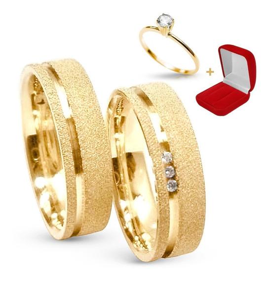 Par Alianças Banhada Ouro 24k Casamento Tradicional Noivado