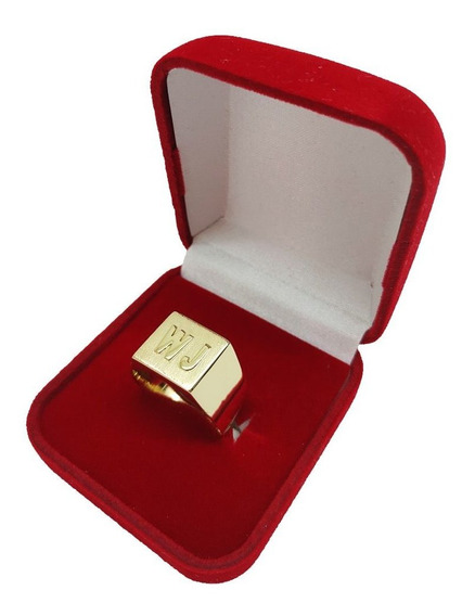 Anel Masculino Com 2 Letras 6 Gramas De Ouro 18kl / 750