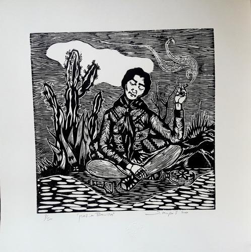 Imagem 1 de 1 de Xilogravura Assinada Maria Bonita - Jefferson Campos