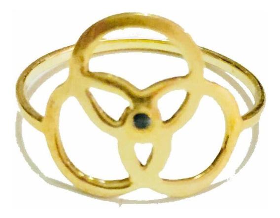 Anel Ouro Amarelo 18k Com Diamante Negro.