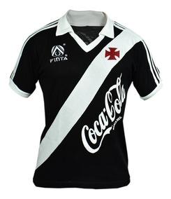Camisa Retrô Vasco Da Gama 1988 Coca Cola Blusa Preta