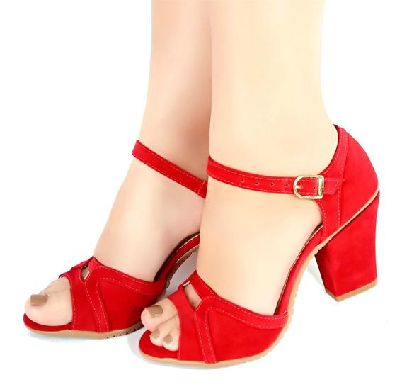 Sandália Vermelha Salto Médio Cunha Bellatotti Dahlia