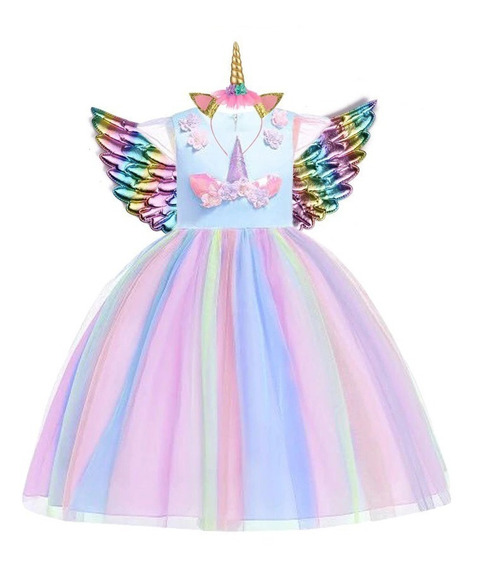 Vestido Luxo Unicórnio Festa Infantil Aniversários + Chifre