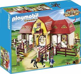 Brinquedo Lacrado Playmobil Grande Fazenda De Cavalos 5221