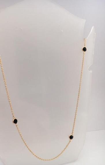 Colar Semi-jóia Banhado Ouro Zircônias Negras 5086