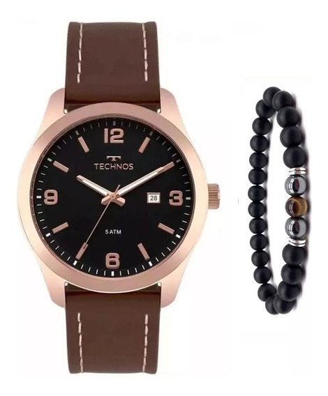 Relógio Technos Couro Masculino 2115mpj/2p Pulseira Onix
