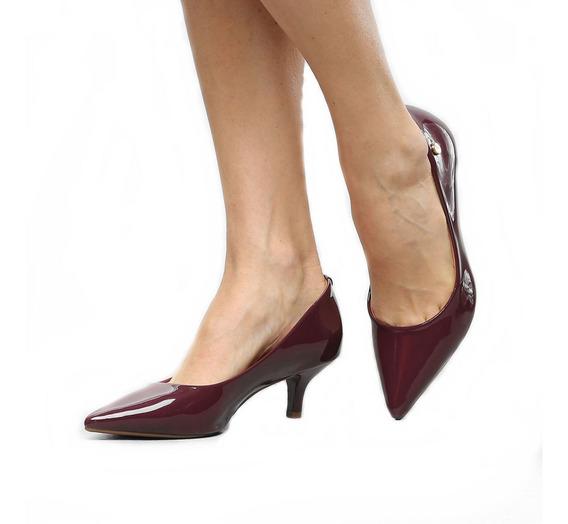 Sapato Scarpin Salto Médio Conforto Cor Preto Luxo Sintético