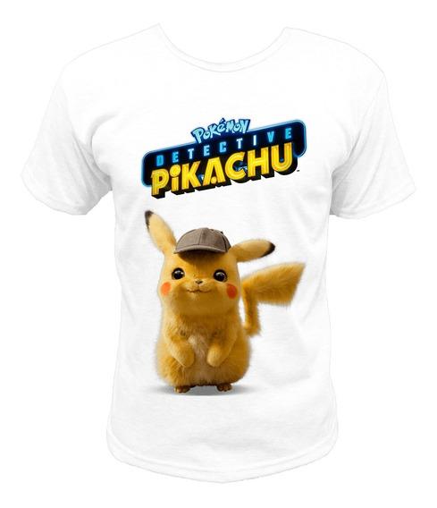 Remera Blanca Gris Pokemon Detective Pikachu Sublimada