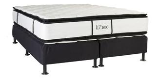 Sommier La Cardeuse LC 1000 Queen 190x140cm negro y blanco