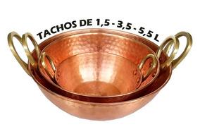 Tacho Panela De Cobre Puro Conjunto 3 Tachos 1,5 3,5 E 5,5 L
