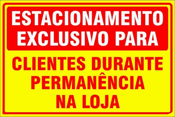 Placa Estacionamento Exclusivo Clientes Loja Amarelo 50x40