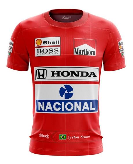 Camiseta F1 Senna Maclaren Corrida Camisa Poliéster Lu.002