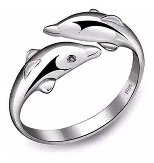 Anillo Delfin Doble Ajustable Unitalla Pareja Boda Promesa Compromiso Chapa Aleacion De Metales