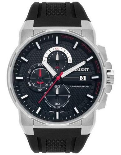 Relógio Masculino Prata Orient Cronógrafo Com Data Silicone