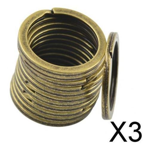 Imagen 1 de 9 de 3x12 Piezas 28mm Anillo Divisible Llavero Llavero Bronce