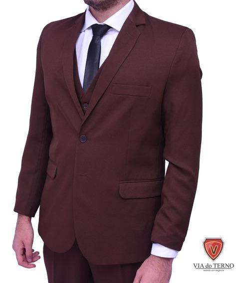 Blazer + Calça Terno Slim Masculino Oxford Cor Marrom 3unid