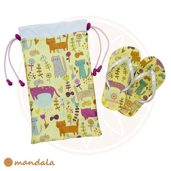 Kit Chinelo Mandala Kids Gatinho + Mandala Bag